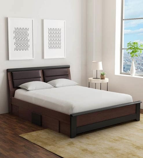 Gautam Furniture Ren Queen Size Bed With Box Storage Two Bedside