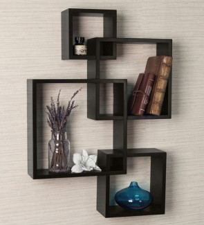 Gautam Furniture Intersecting Boxes Wall Shelves in Black Finish