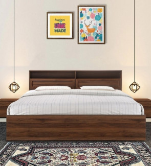 Gautam Furniture Hisato Queen Size Bed with Headboard Storage in Walnut