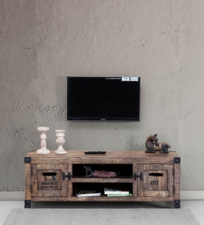 Gautam Furniture Solid Wood TV unit in Distress Finish
