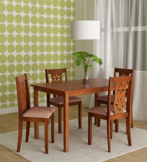 Gautam Furniture Siramika Solid Wood Four Seater Dining Set in Honey Oak finish