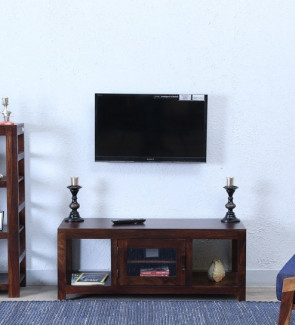 Gautam Furniture Solid Wood TV Unit in Provincial Teak Finish