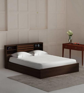 Gautam Furniture Ren King Size Bed with Box Storage & Two Bedside Tables in Wenge
