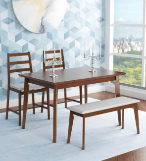 Gautam Furniture Jewel 1+ 2+ Bench Dining Set in Walnut