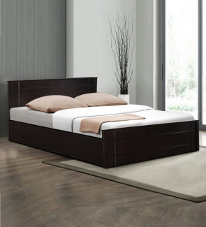 Gautam Furniture Hiroki Queen Size Bed with Headboard Storage in Walnut