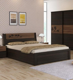 Gautam Furniture Calla King Bed with Storage in Walnut & Wenge