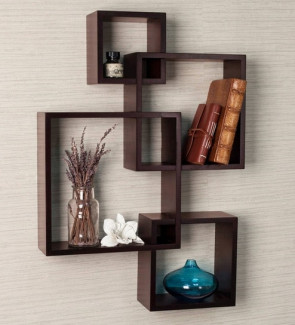 Gautam Furniture Intersecting Boxes Wall Shelves in Brown Finish