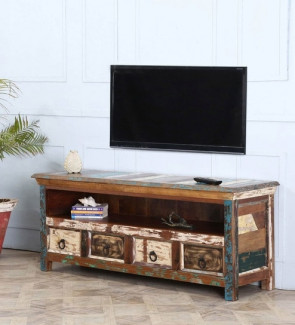 Gautam Furniture TV Unit in Distress Finish