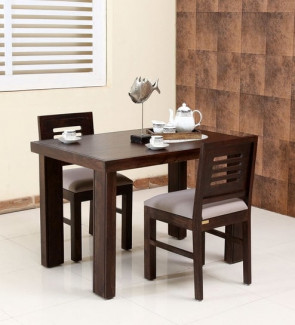 Gautam Furniture Zina Four Seater Dining Set With Bench in Light Walnut Finish
