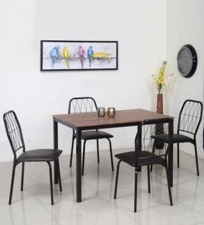 Gautam Furniture Sydney Four Seater Round Dining Set in Walnut Colour