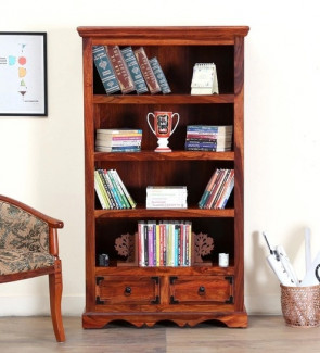 Gautam Furniture Solid Wood Folding Study & Laptop Table with Book Shelf in Provincial Teak Finish