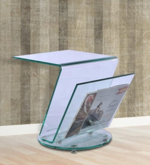 Gautam Furniture Top Side Table cum Magazine Rack in Clear Glass Colour