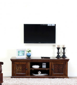 Gautam Furniture Solid Wood TV Units in Provincial Teak Finish