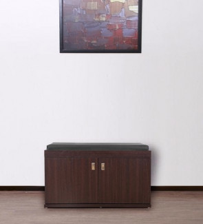 Gautam Furniture Two Door Tall Shoe Cabinet in Wenge Finish