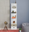 Gautam Furniture Table with Book Shelves & Cabinet in Knotty Wood Finish