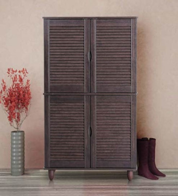 Gautam Furniture Four Door Shoe Cabinet in Wenge Colour