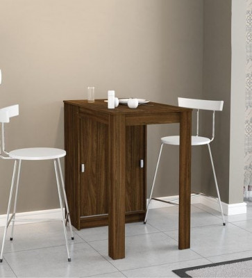 Gautam Furniture Foldable & Compact Two Seater Dining Set in Natural Brown