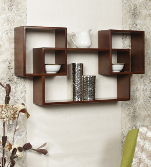Gautam Furniture Intersecting Boxes Wall Shelves (Set of 3) in Brown Finish