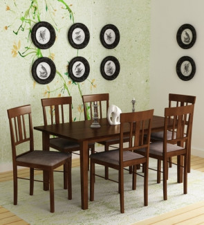 Gautam Furniture Hideyoshi Six Seater Dining Set in Walnut