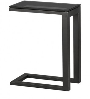Gautam Furniture C Shape Side Table with Black Glass Top