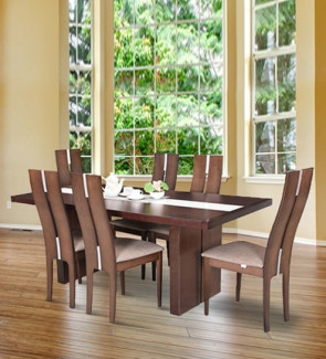 Gautam Furniture Kester Six Seater Dining Set in Walnut
