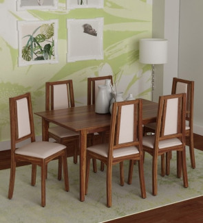 Gautam Furniture Allen Six Seater Dining Set in Light Walnut