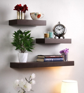 Gautam Furniture Floating Wall Shelf (Set of 3) in Brown Finish