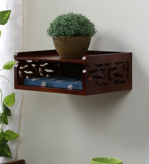 Gautam Furniture Carved Decorative Wall Shelf in Brown Finish