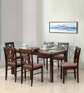 Gautam Furniture Siramika Solid Wood Six Seater Dining Set in Honey Oak
