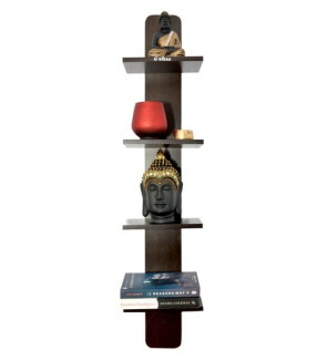 Gautam Furniture Luciano 4 Tier Spine Wall Shelf in Wenge Finish