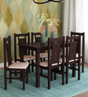 Gautam Furniture Artois Six Seater Dining Set with Bench & Four Chairs in Dark Walnut